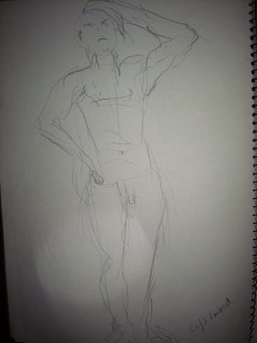 My first-ever nude study. In two minutes. And left-handed too!