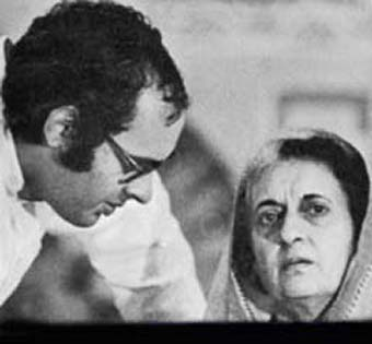 Indira with Sanjiv...I mean...Sanjay. Gandhi.