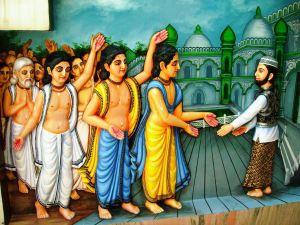Sri Chaitanya embraces Chand Kazi.