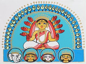 Mother Goddess Durga with Her Four Children -- Descending on Earth.