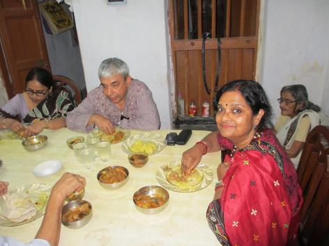My wife Mukti and me, along with cousins, having a fabulous lunch in the village of Rajpur, West Bengal.