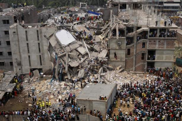 Savar, Dhaka, Bangladesh. Rana Plaza collapsed, killing 1,200 poor workers. Wal-Mart, Gap, J. C. Penny,  H&M, Children's Place, Disney, Mango...all were there.