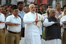 Modi at RSS prayer